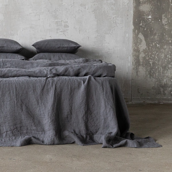 grau leinen bettlaken stone washed linenme. Black Bedroom Furniture Sets. Home Design Ideas